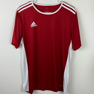 ADIDAS CLIMALITE red striped men's large shirt